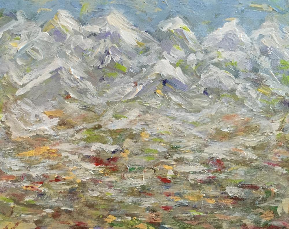 """Winter Mountains"" original fine art by Cheree Apalona Lueck"