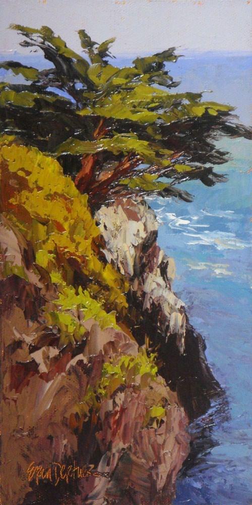 """Cliffside Cypress"" original fine art by Erin Dertner"