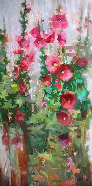 """Pink Show- Hollyhocks"" original fine art by Mary Maxam"