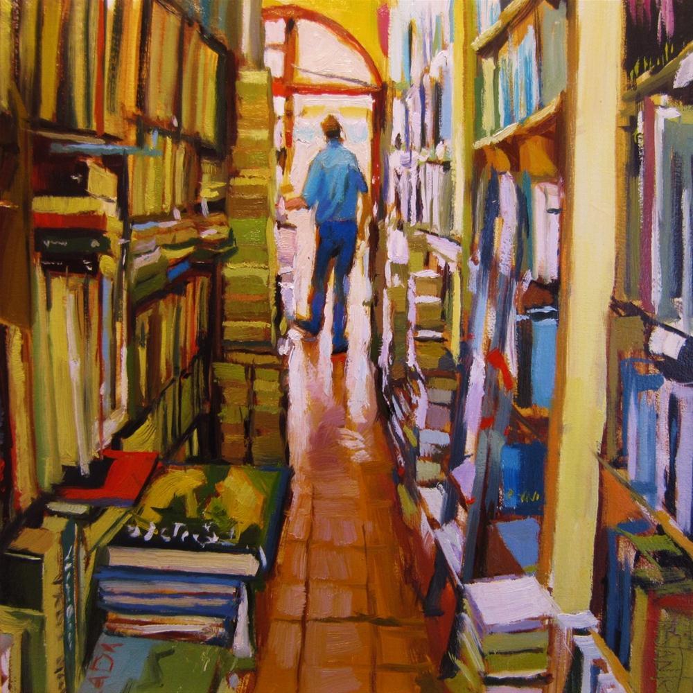 """Second hand book shop"" original fine art by Víctor Tristante"