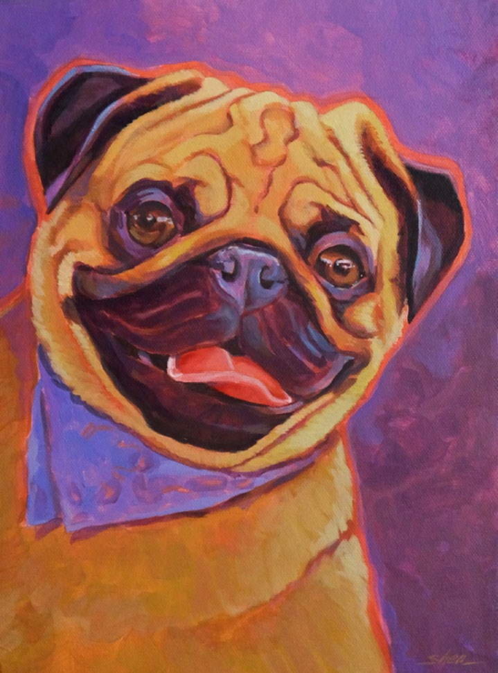 """""""Partyin' Pug"""" original fine art by Shawn Shea"""