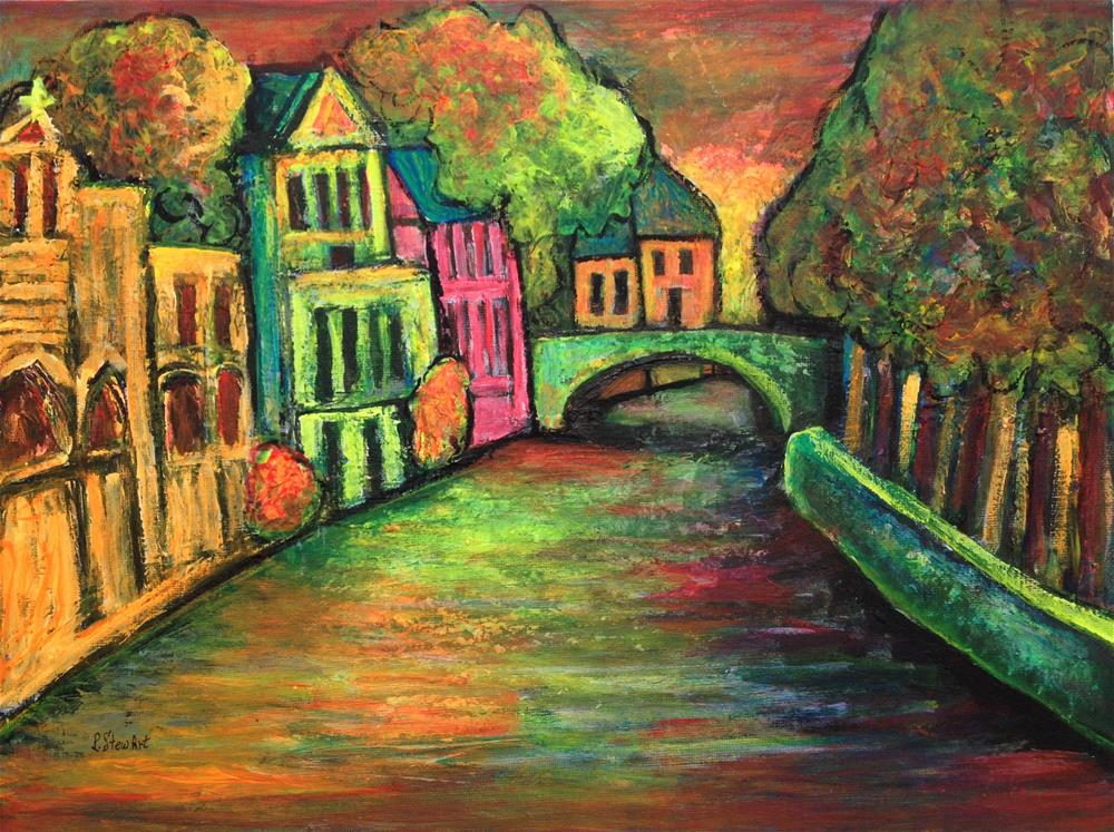 """12x16 Contemporary Landscape Bruges Canal Fluorescent Neon Penny StewArt"" original fine art by Penny Lee StewArt"