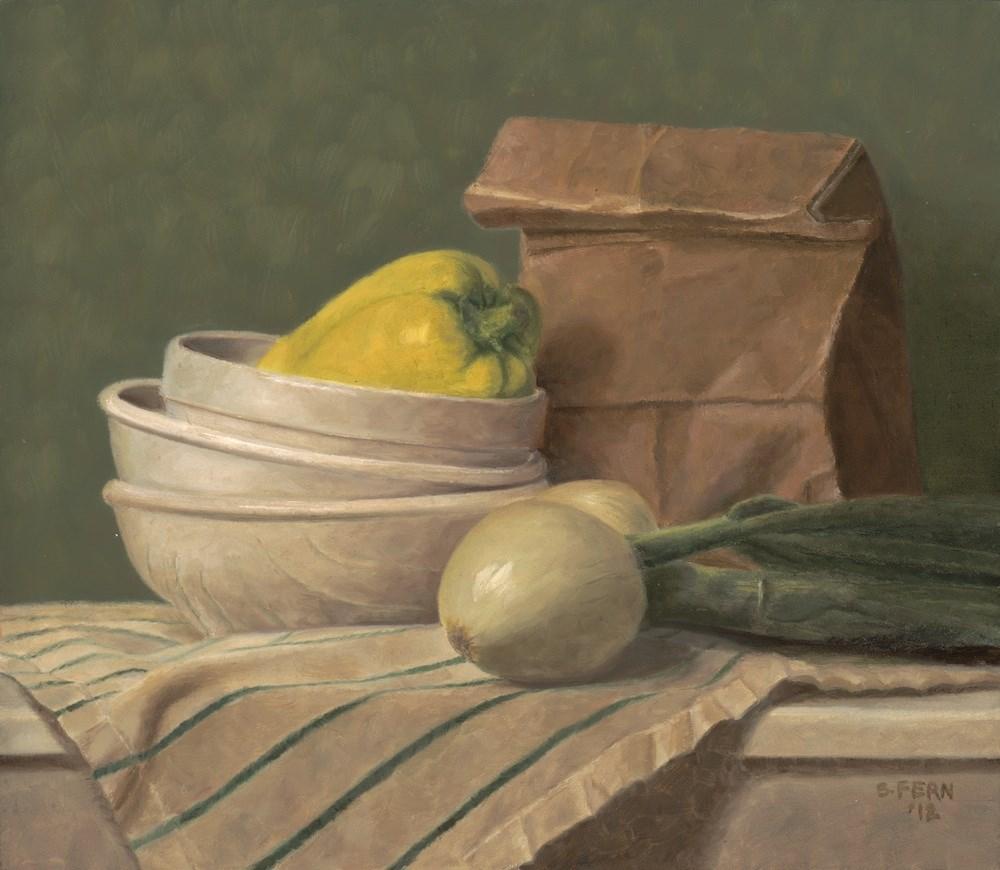 """Green Onion Still Life"" original fine art by Susan Fern"