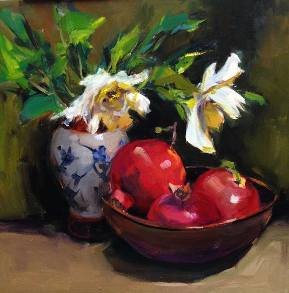 """Still Life with Pomegranates"" original fine art by Laurie Johnson Lepkowska"