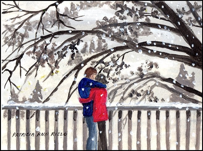 """Cuddling on a Snowy Day"" original fine art by Patricia Ann Rizzo"