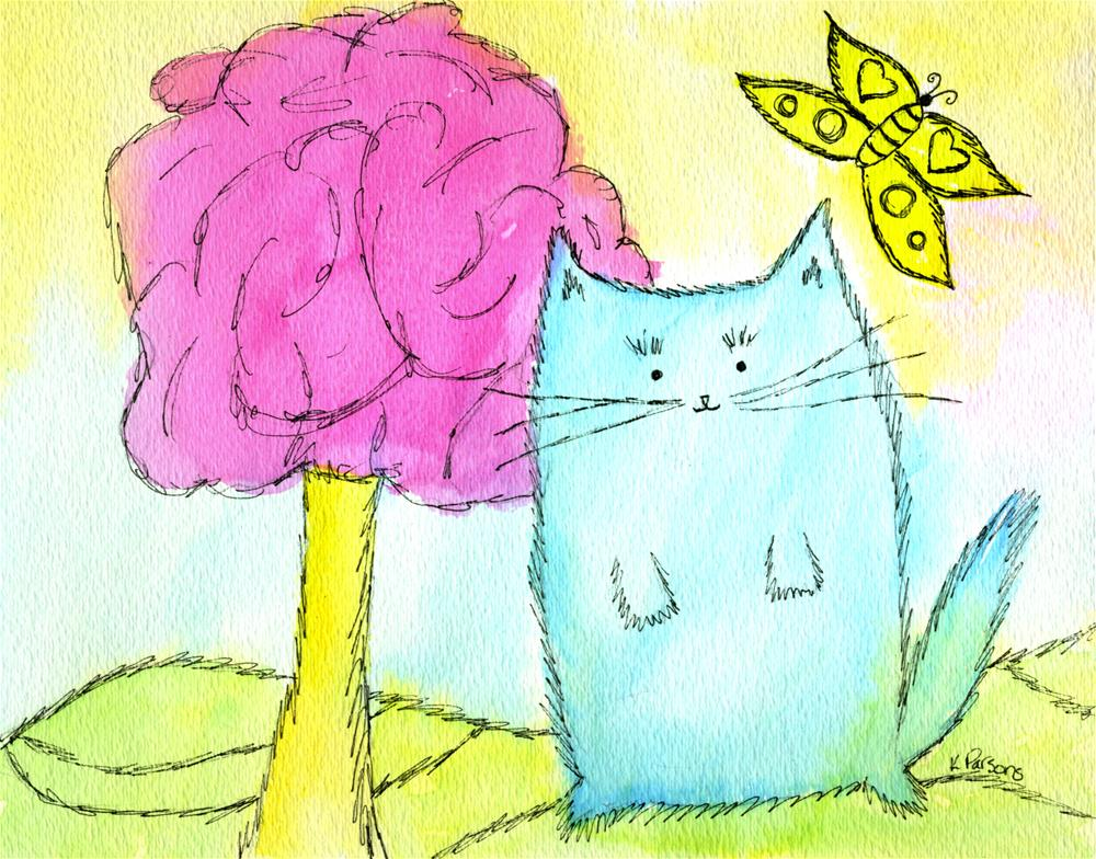 """The Blue Cat, The Pink Tree, and The Yellow Butterfly"" original fine art by Kali Parsons"