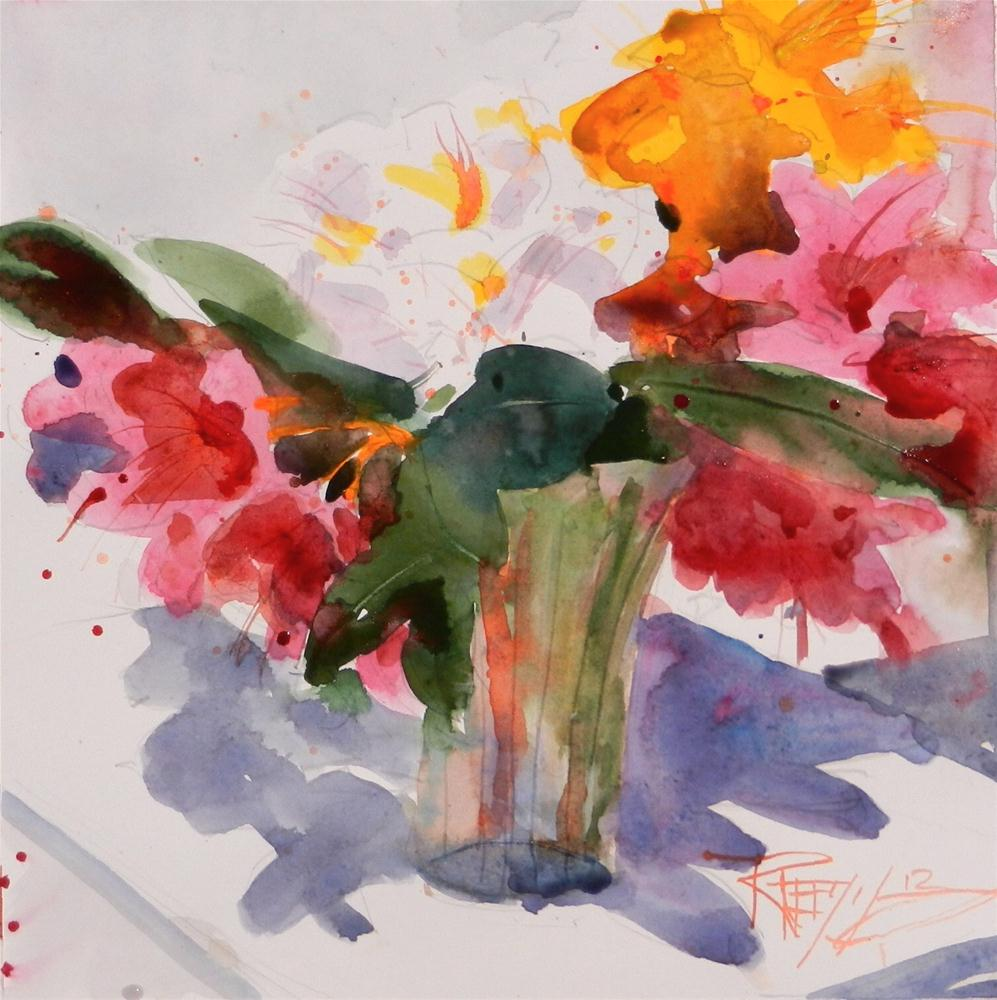"""""""Red Rhodies #4 plein air floral, watercolor painting by Robin Weiss"""" original fine art by Robin Weiss"""