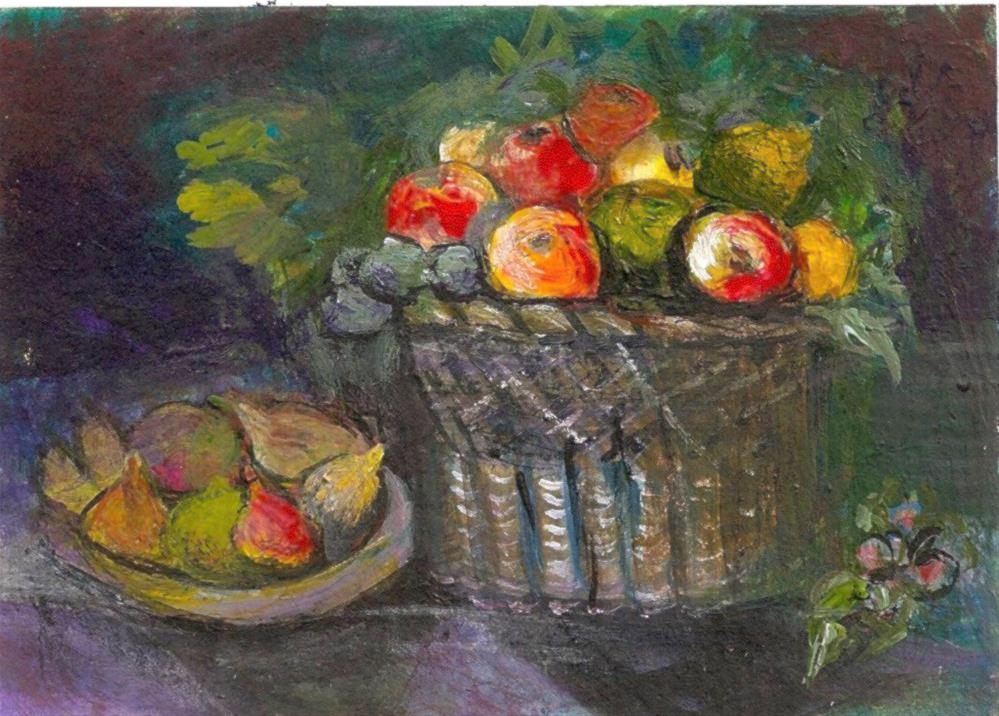 """ACEO Basket of Apples + figs Painting ala Juan van der Hamen Leon P. StewArt"" original fine art by Penny Lee StewArt"