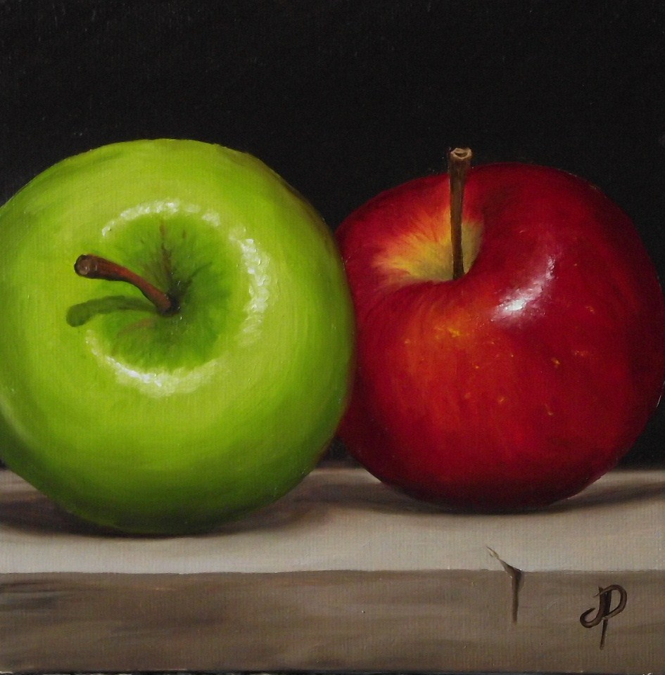 """""""Two Apples and Little lemon and lime"""" original fine art by Jane Palmer"""