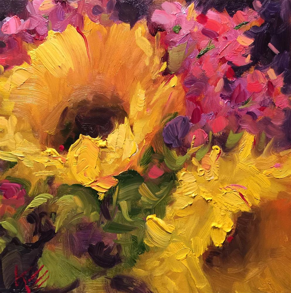 """Sunflowers in Spring"" original fine art by Krista Eaton"