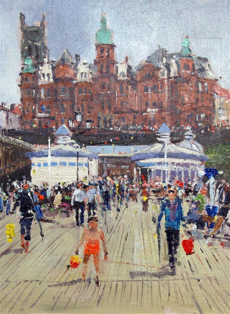 """Crowds Approaching the Cromer Pier"" original fine art by Adebanji Alade"