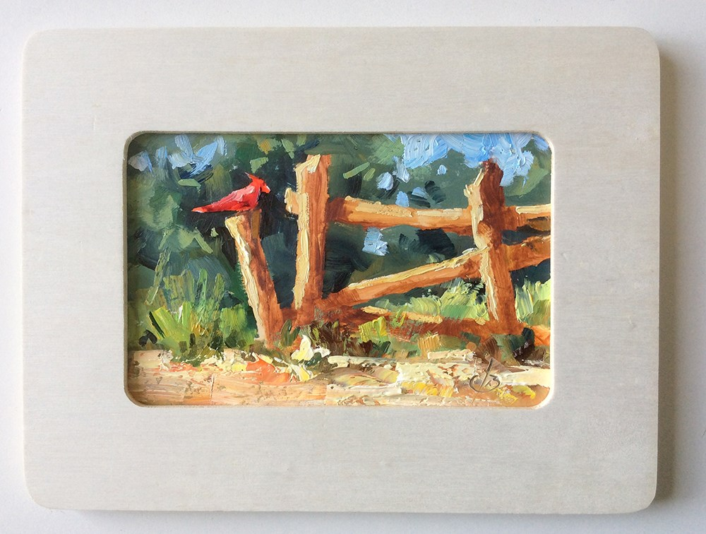 """""""CARDINAL ON A FENCE POST"""" original fine art by Tom Brown"""