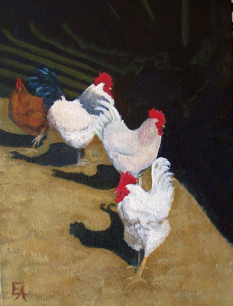 """30 in 30 Challenge: Rooster  Line Dance"" original fine art by Elizabeth Elgin"