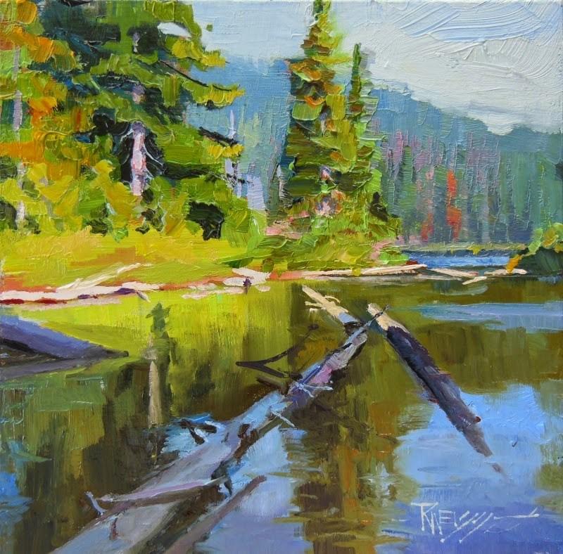 """Lake Eleanor oil, landscape painting by Robin Weiss in the Randy Higbee 6"" original fine art by Robin Weiss"