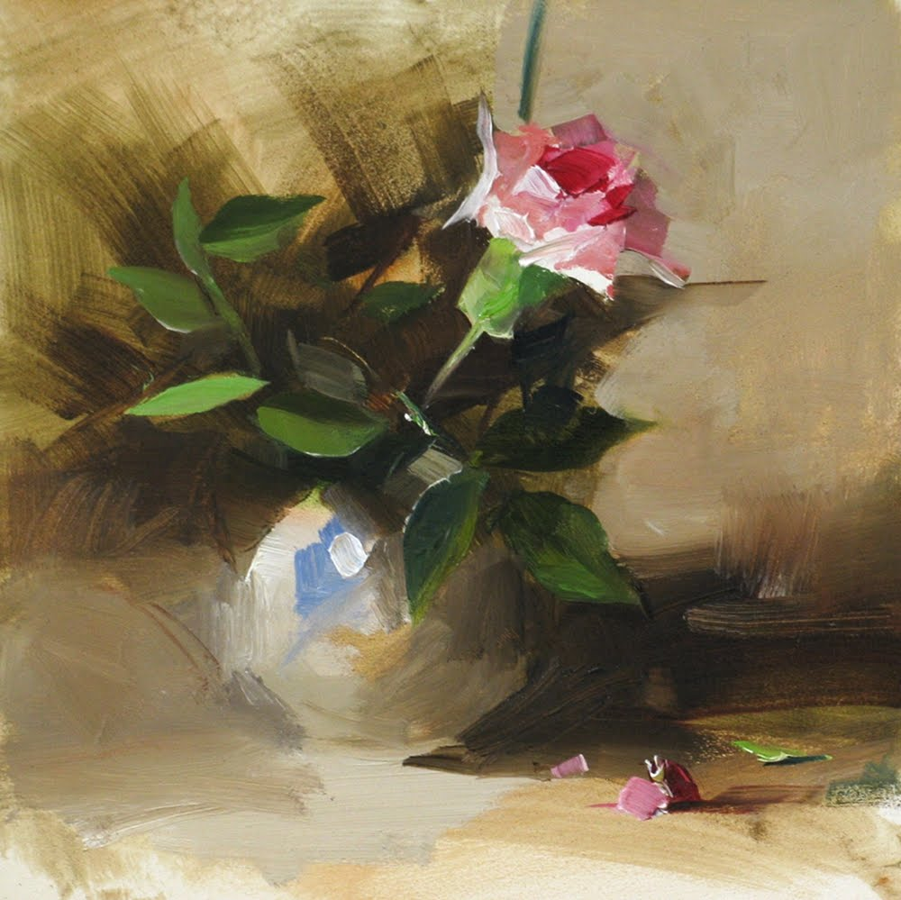 """Carnation and Rose Leaves"" original fine art by Qiang Huang"