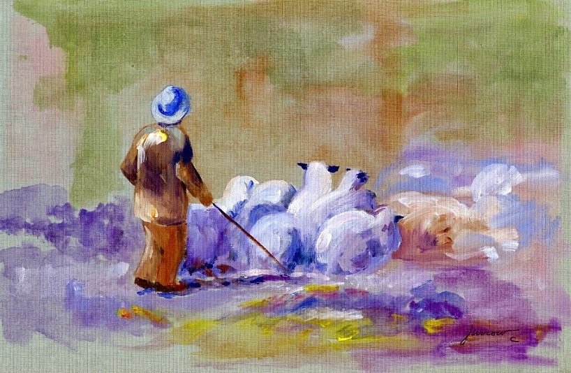 """ORIGINAL PAINTING OF SHEPHERD AND FLOCK"" original fine art by Sue Furrow"