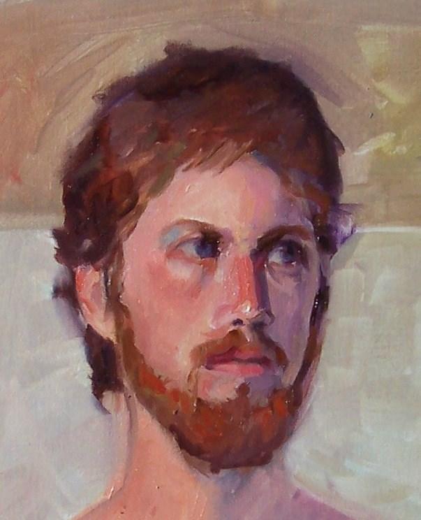 """Male Model,portrait,oil on canvas,17x14,priceNFS"" original fine art by Joy Olney"