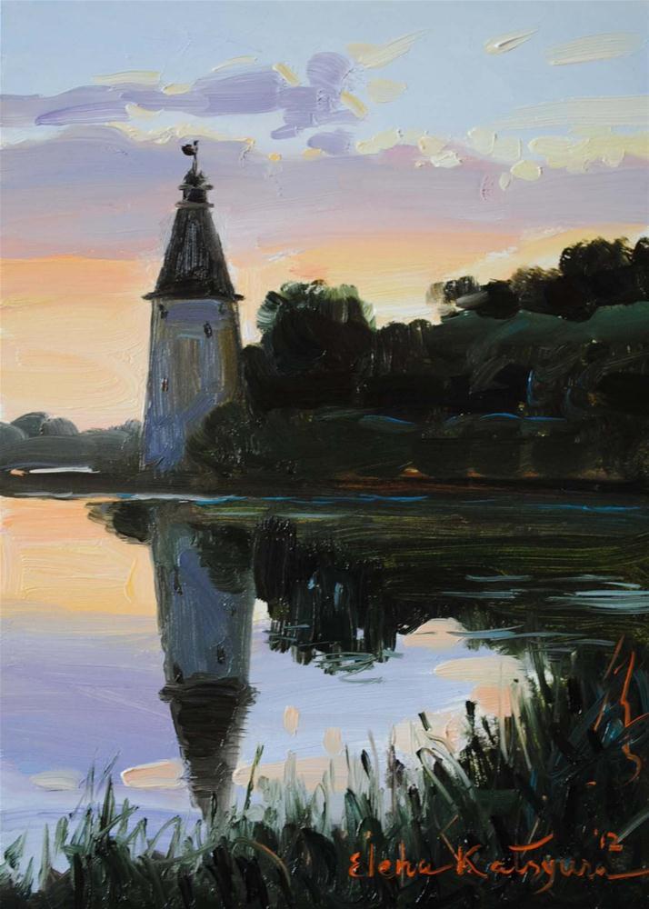 """Tower on the Lake"" original fine art by Elena Katsyura"