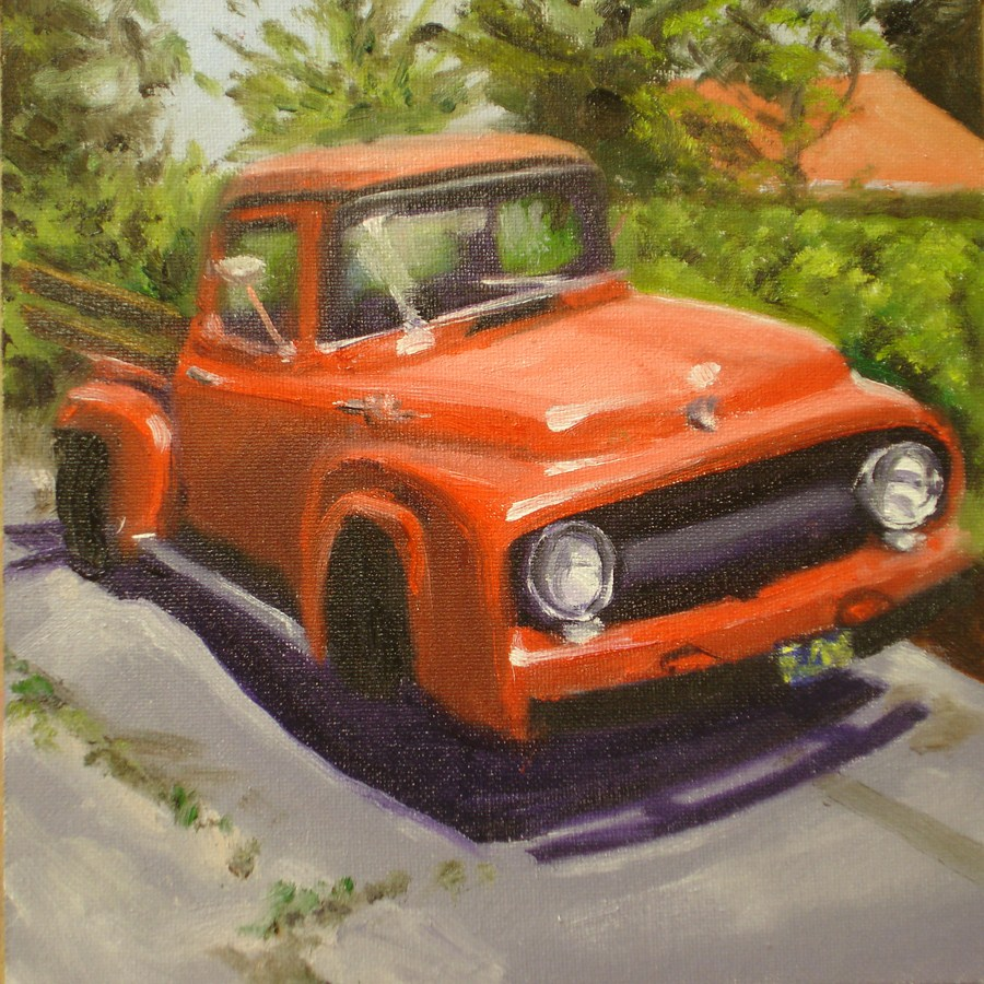 """""""The Red Truck"""" original fine art by Linda Lowery"""