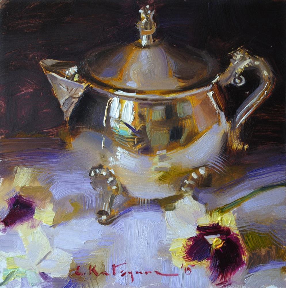 """Silver and Pansies"" original fine art by Elena Katsyura"
