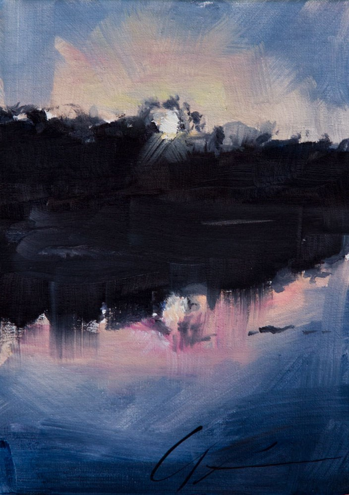 """Lakehouse Sunset"" original fine art by Clair Hartmann"