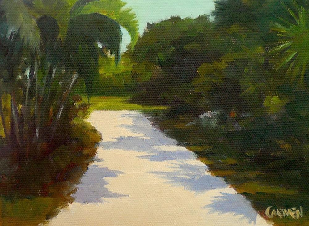 """Florida Road, 8x6 Oil on Canvas Panel, Landscape"" original fine art by Carmen Beecher"