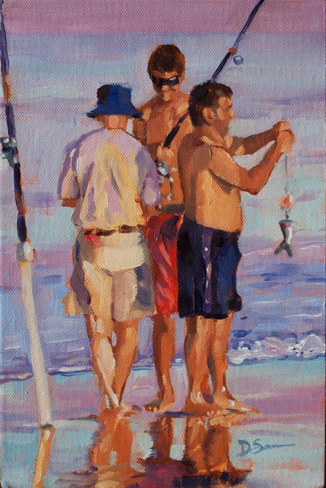 """Three Fishermen"" original fine art by Deborah Savo"