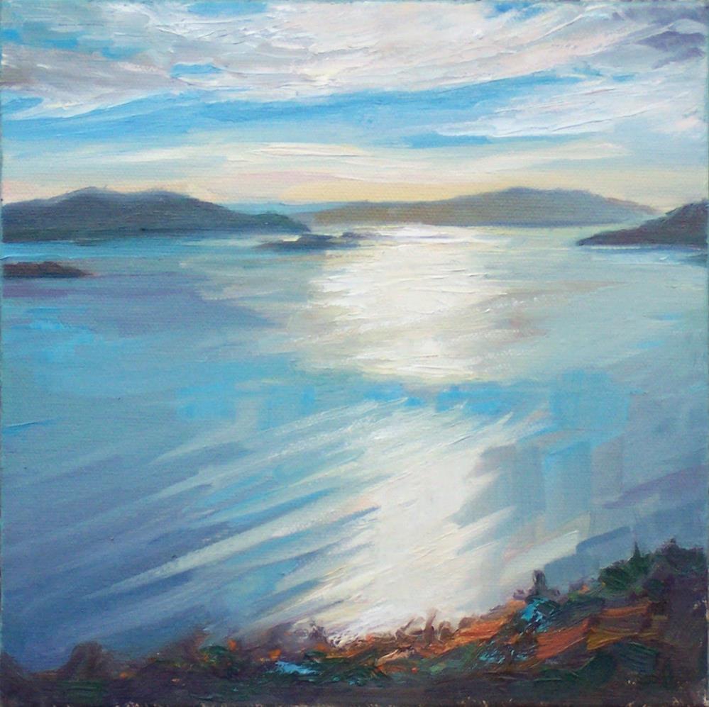 """Blanchard Evening,seascape,oil on canvas,6x6,priceNFS"" original fine art by Joy Olney"
