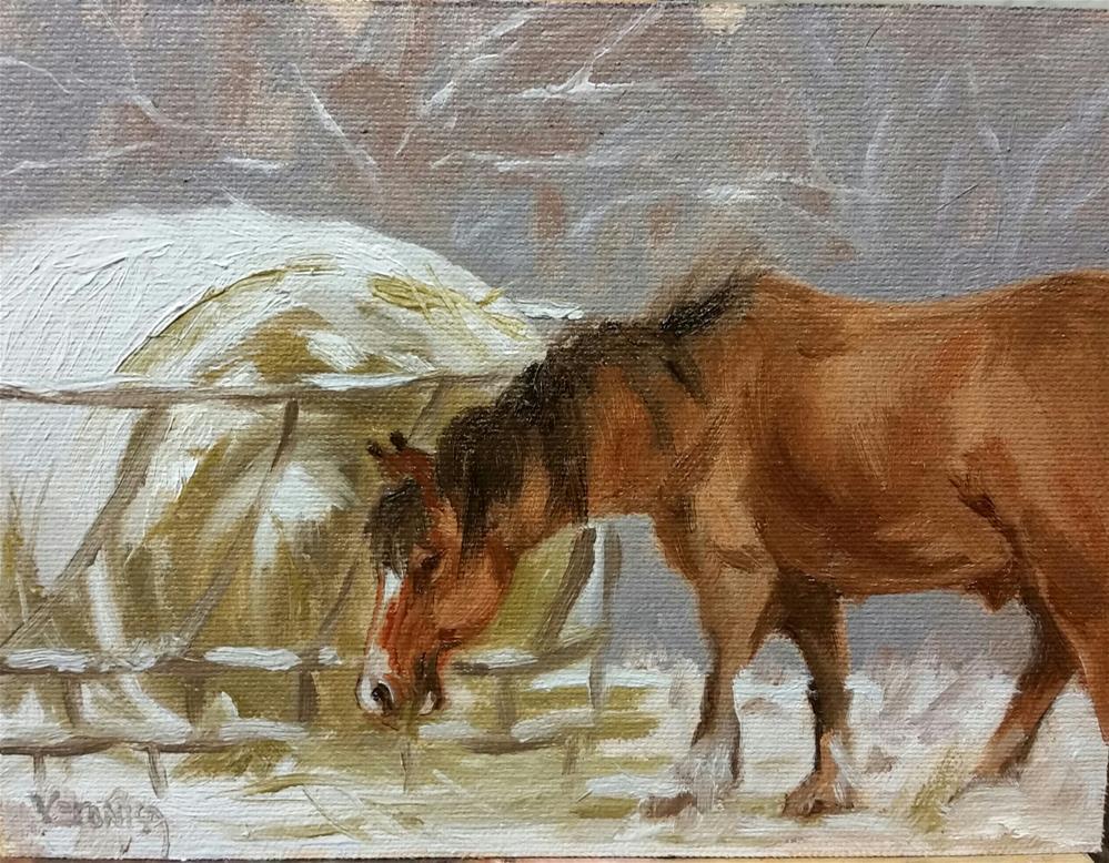 """Doc in the snow- en plein air"" original fine art by Veronica Brown"