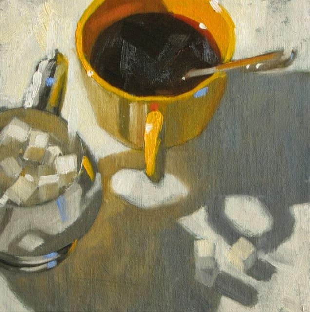 """Sweet sunny coffee 8x8 oil"" original fine art by Claudia Hammer"