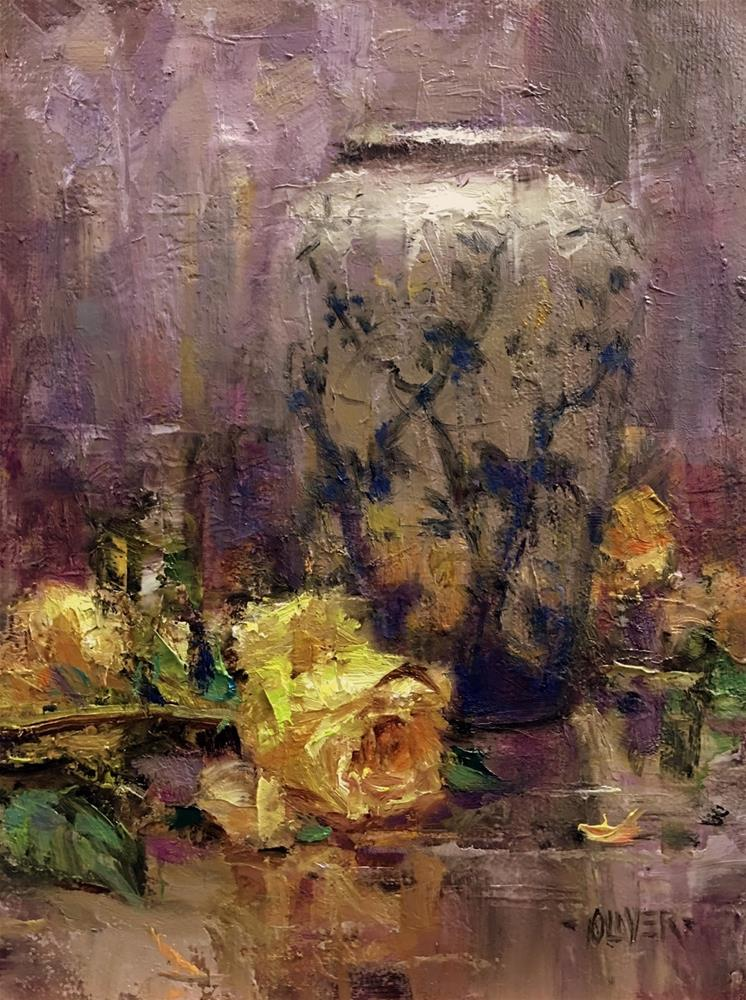 """Yellow Roses and Split Complementary"" original fine art by Julie Ford Oliver"