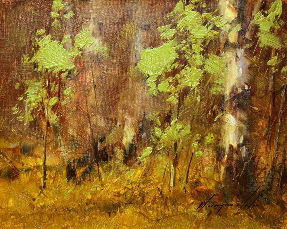 """""""BIRCHES GROVE ORIGINAL OIL PAINTING ON CANVAS GALLERY QUALITY"""" original fine art by V Y"""