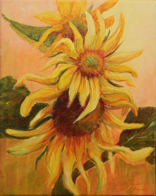 """Stacked Sunflowers"" original fine art by Gloria Urban"
