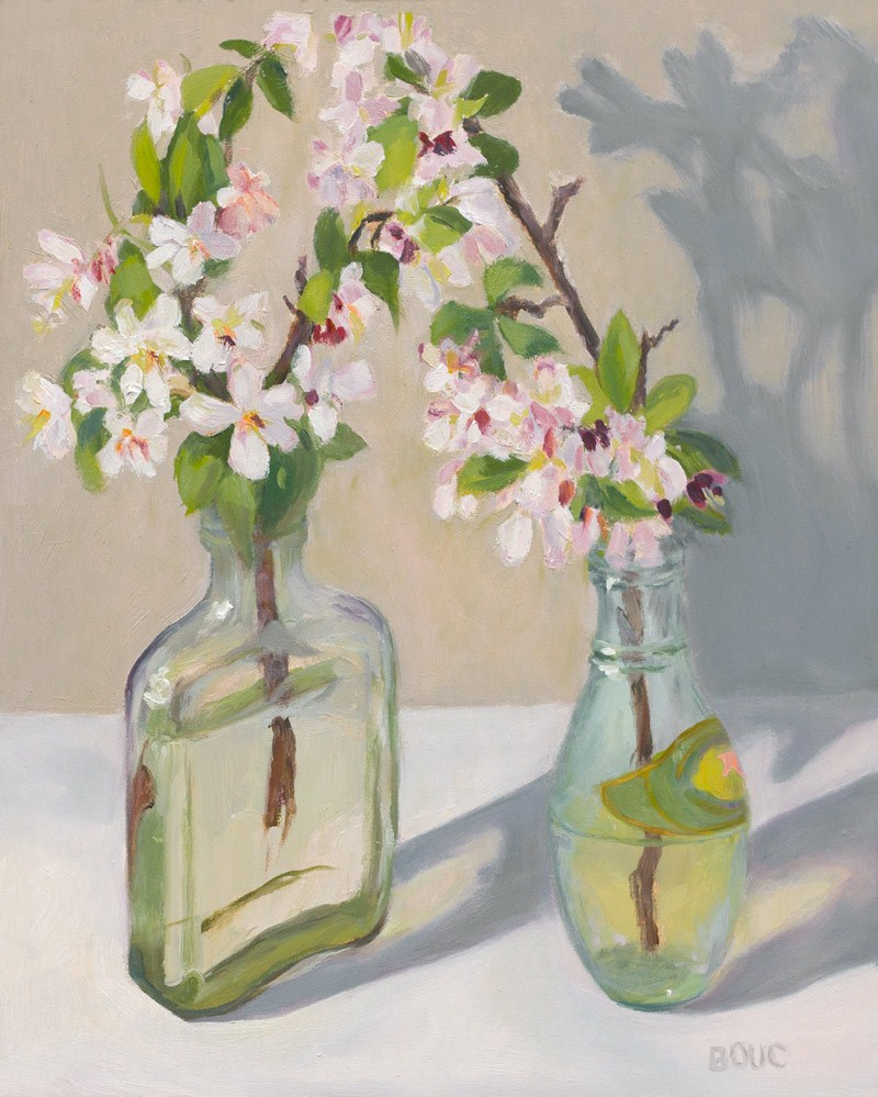 """Flowering Crab Apple Blossoms Paired"" original fine art by Jana Bouc"