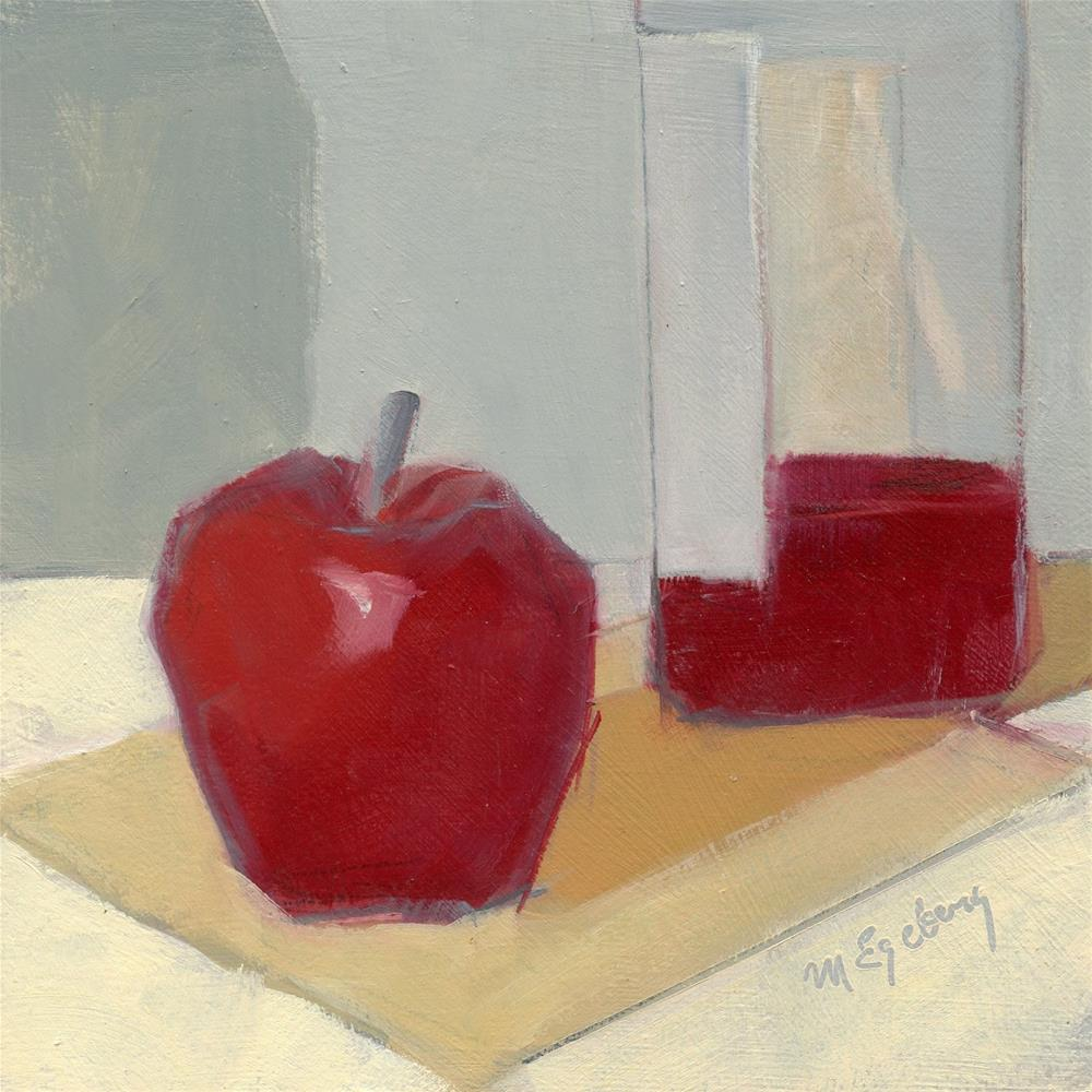 """Apple with Wine 1"" original fine art by Mitch Egeberg"