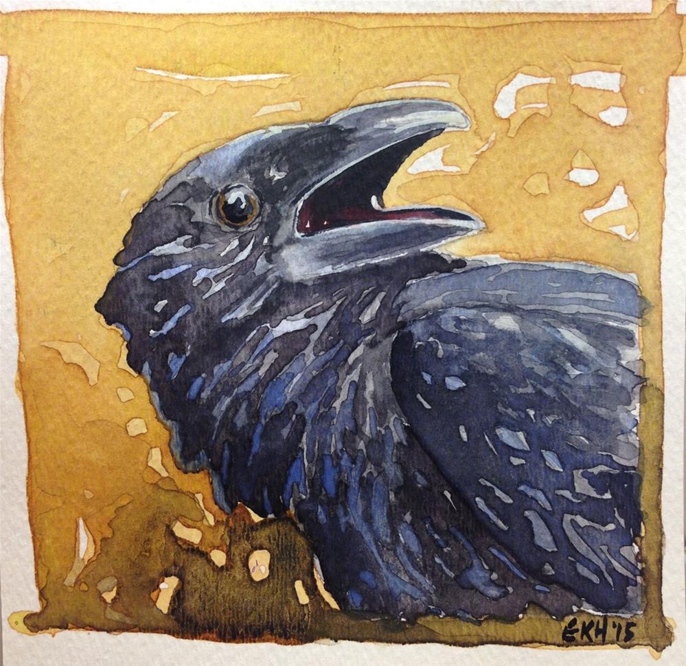 """""""Crow on Gold"""" original fine art by Eileen Hennemann"""