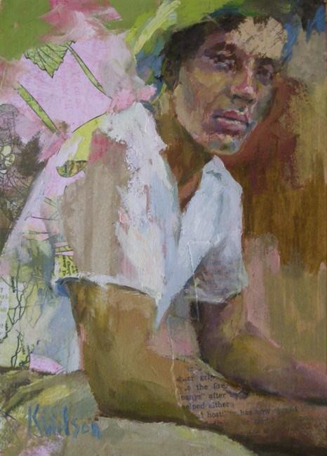 """""""White Shirt Green Hat"""" original fine art by Katie Wilson"""