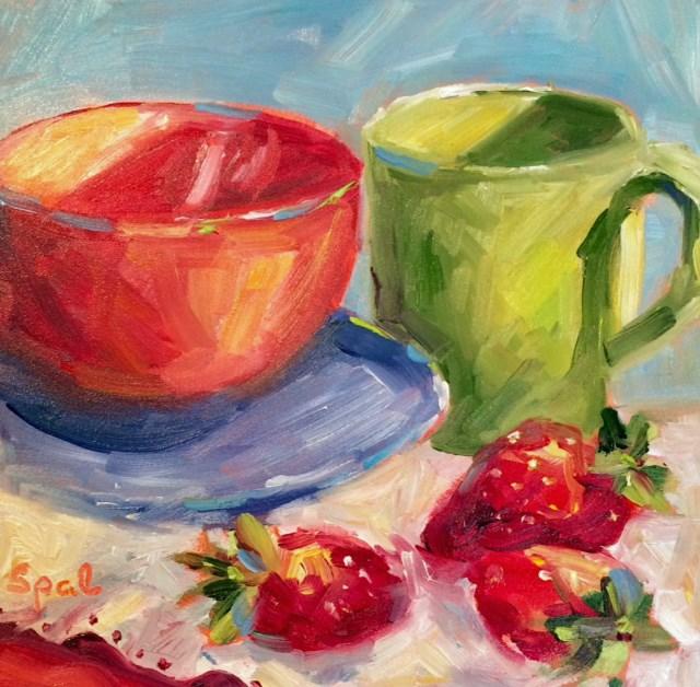 """Strawberries"" original fine art by Suzy 'Pal' Powell"