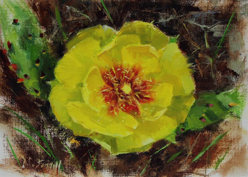 """""""Blooming Prickly Pear Cactus"""" original fine art by Donna C Farrell"""