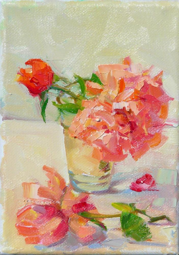 """Summer Rose,still life,oil on canvas,7x5,price$100"" original fine art by Joy Olney"