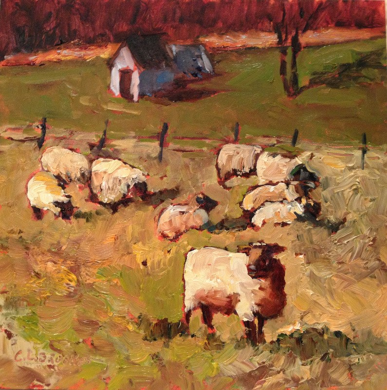 """""""Sheep on Carroll Road I, Day 42"""" original fine art by Claudia L Brookes"""