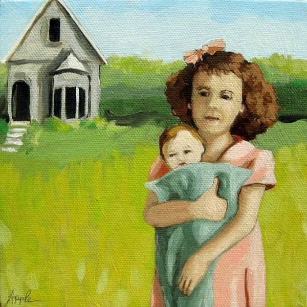 """Little Girl vintage era farm landscape oil painitng"" original fine art by Linda Apple"