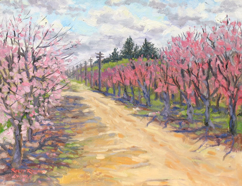 """Road Through the Peach Orchards"" original fine art by Rhett Regina Owings"