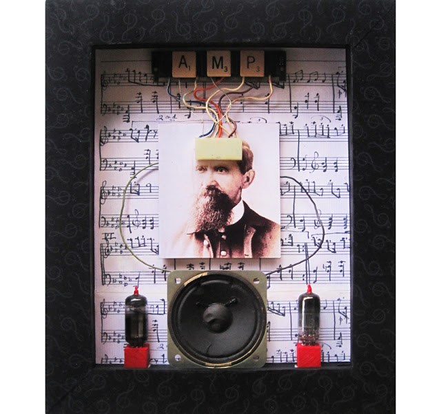 """""""Wired For Sound - mixed media assemblage art"""" original fine art by Linda Apple"""