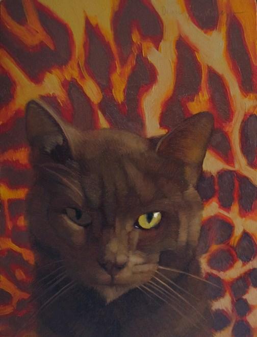 """The Suspect painting of unrepentent cat"" original fine art by Diane Hoeptner"