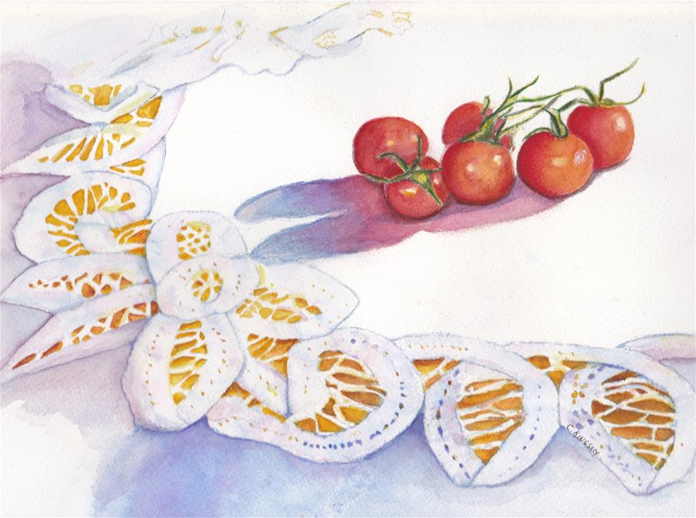 """""""Lace and Tomatoes"""" original fine art by Christiane Kingsley"""