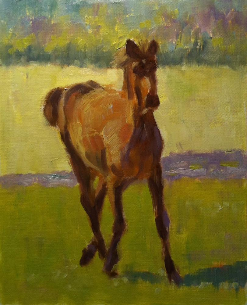 """""""Horse on the Move"""" original fine art by Katharine March"""