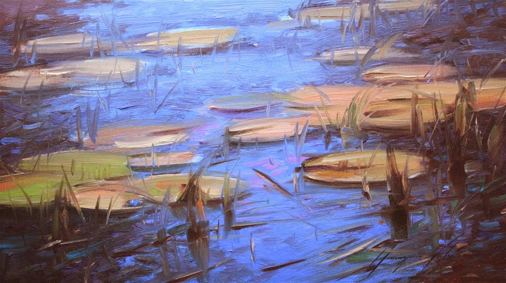 """WATERLILIES POND ORIGINAL OIL PAINTING ON CANVAS HANDMADE"" original fine art by V Y"