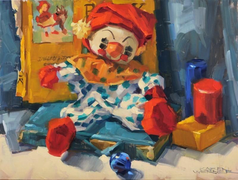 """""""Old Clown"""" original fine art by Karen Werner"""