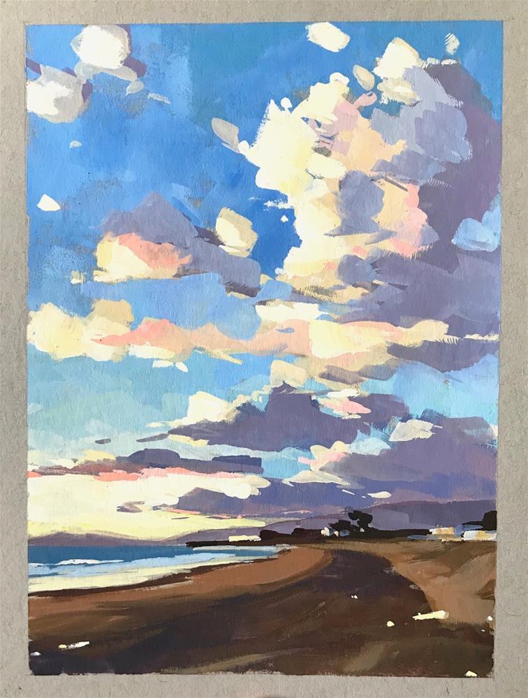 """""""Winter Sunset in Gouache"""" original fine art by Sharon Schock"""